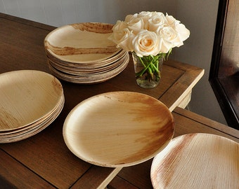 "Round Disposable Dinner Plates for Wedding 10"".  Ready in 2-3 Business Days.  Disposable 10"" Palm Leaf Plates.  Set of 10."