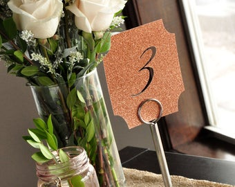 Rose Gold Table Number Holders and Cards.  Handcrafted in 2-3 Business Days.  Rose Gold Table Number Signs with Stands.