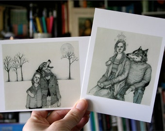 Postcards Wolf Boyfriend Two postcards mini print 4x6 glossy cards