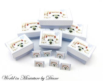 Dollhouse Westie Boxes, PDF 1:12 Westie Boxes, Dollhouse Digital Download, Dog Boxes Dollhouse Gift Boxes, Dollhouse Printie Gift Boxes