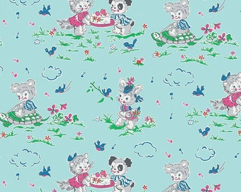 Riley Blake Designs Strawberry Bisquit Play Date Blue Fabric - 1 yard