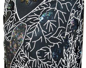 Vtg 1980s Black Silk Chiffon Sequin/Beaded Dress Sz XL