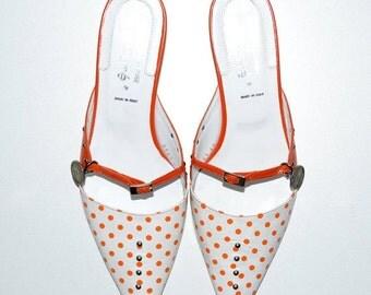 ON SALE Vintage New Womens All Leather Mules Shoes 40 Orange Polka-Dots White Un Dimanche à Venise Kallisté