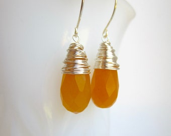 Apricot Orange Earrings Wire Wrapped Jewelry Handmade Spring Fashion Orange Jewelry Dyed Jade