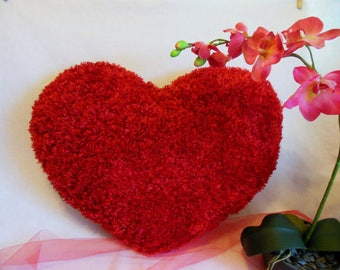 Super SOFT Mini Comfy Cozy Huggable Fluffy RED HEART Silky Shaggy Toss Heart Shaped Pillow * Kids Room Decor * Wedding Bridal * Love