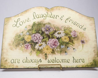 Welcome Sign Hand Painted Florals Cottage Chic