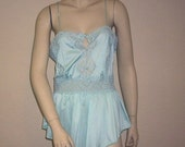 HOLIDAY SALE Lily of France Vintage 1980's Baby Blue Teddy Camisole Ladies Large