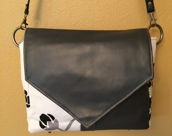Becca #1118, Gray, Black and White Purse, Designer Fabric Purse, Cross Body Purse, Cross Body Bag, Shoulder Purse, Shoulder Bag, Handbag,Bag