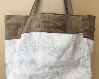 Charlote#1523, Large Upholstery Tote, Upholstery and Linen Tote, Large Bag, Large Project Bag, Knitting Project Bag, Knitting Bag, Travelbag