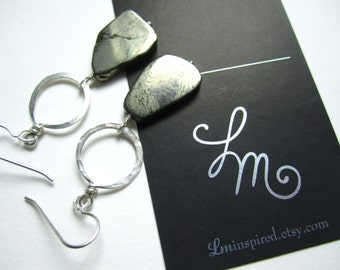 Golden Pyrite Slice Petite Sterling Silver Hammered Hoop Earrings by LM-inspired