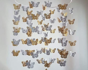MADE to ORDER Gold Silver Metallic Shimmer Butterfly Nursery Baby Butterfly Mobile 14 inch  ANY colors