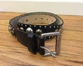 Vintage 70's 80's leather studded biker belt, size S
