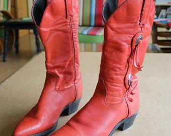 Fab Vintage 1970's 1980's Cowgirl BOOTS by Capezio...Bright Red...Conchos...Size 6...Coachella