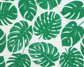 Green and White Trocial Leaves 4 Way Stretch MATTE SWIM Knit Fabric, Modern Maritime By Corinne Wells for Club Fabrics, 1 Yard
