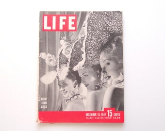 1940s Life Magazine...complete issue December 15, 1947 Night Club Girls Ingrid Bergman Petticoats Palestine Royal Newlyweds New Gadgets