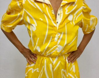 Cool Vintage 80s Bright Yellow w/funky White Print Jumpsuit