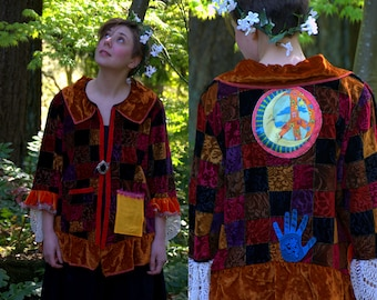 Upcycled velvet jacket -  XL - Gypsy Road Traveler -Velvet coat -Hippie coat -Patchwork coat -Costume coat - Tribal Coat -Boho -Burning man