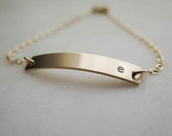 Initial Bracelet - Simple Gift for Mothers Day - Personalized Nameplate Customized Hand Stamped by Betsy Farmer Designs