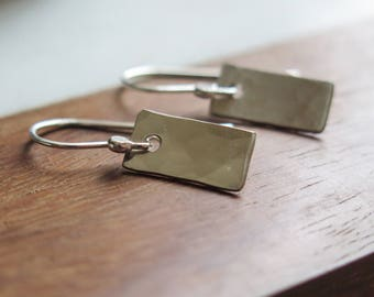 Simple Hammered Rectangle Sterling Silver Dainty Rustic Earrings by Betsy Farmer Designs