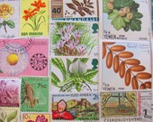Miniature Botanical Garden 50 Vintage Botanical Postage Stamps Fruit Flower Vegetables Plants Horticulture Vegan Organic Garden Philately 2