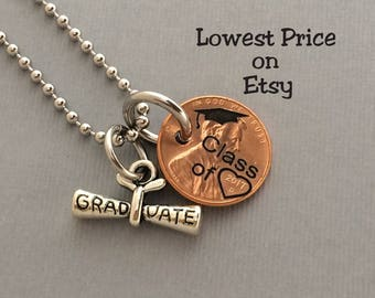 Graduation Gift - Class of - Gift for Her - Daughter Gift For - Stamped Penny - Graduate - Gift for Him - Necklace Penny - 2017