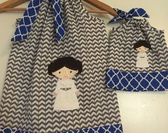 """Star Wars  dress,  SALE 10% off code is tilfeb dress matching AG doll dress size 12 months  2t, 3t,4t, 5t, 6,7 8, 10,12 to fit 18"""" Doll"""