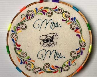 Mrs. and Mrs. Hand Embroidered Hoop Art