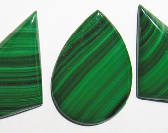 Malachite set of three Designer Cabochon (H002)