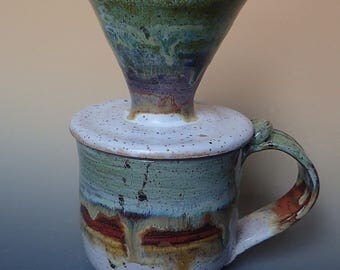 Handmade Stoneware Pour Over Coffee Dripper,  LARGE Matching Mug and Reusable Filter