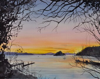 Fawn Island Sunset, Watercolor Giclée Print, Orcas Island, San Juan Islands, Pacific Northwest, Deer Harbor