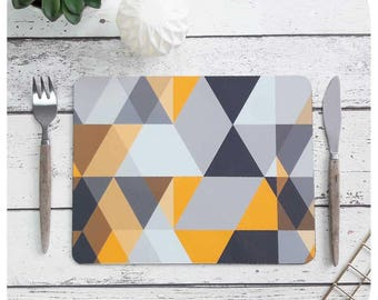 Scandi Geometric Placemat Set - Scandi triangle Print - Grey and Mustard Placemats - Scandi Print Placemats - Scandinavian Modern Tableware