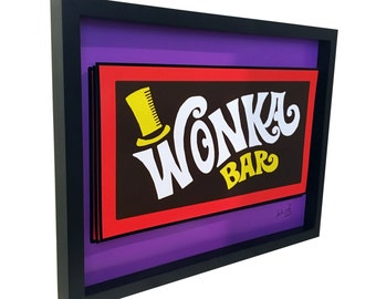 Willy Wonka Bar 3D Art Charlie and the Chocolate Factory Poster Golden Ticket