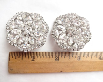 Large Dazzling Vintage Clip Earrings ca 1960