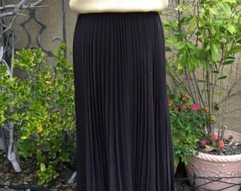 SALE 35% OFF Vintage 1980s 1990s brown pleated designer Escada maxi skirt size S
