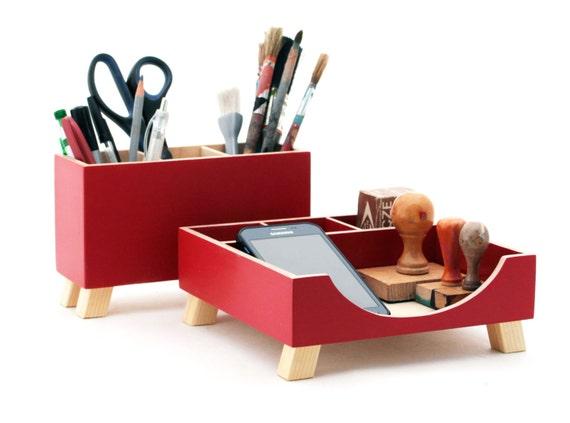 Desk organizer red desktop organizer desktop set red wood - Desk set organizer ...