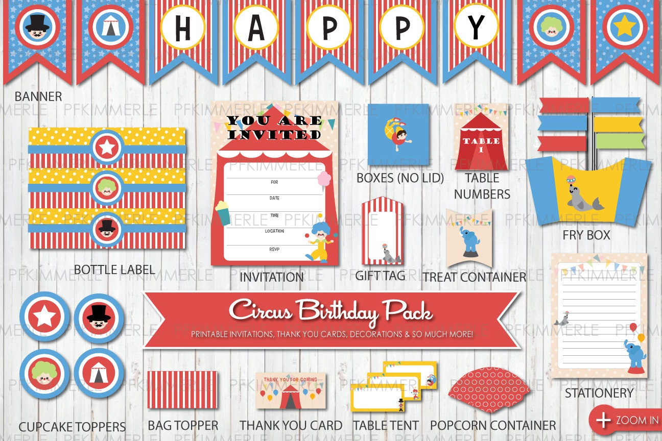 Circus Themed Birthday, Printable Party Pack, DIY, Banner ...
