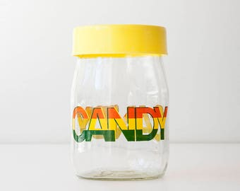 Vintage Glass Colorful Typography Candy Jar - Carlton Glass