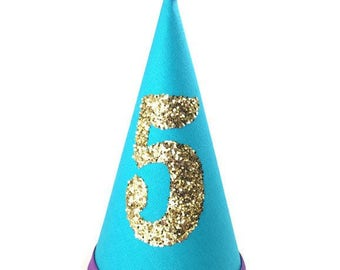 Teal and Purple Dog Birthday Hat, Cat Birthday Hat, Gold Birthday Number