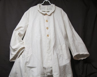 """Bust up to 51"""" - Cotton/Linen Paletot - Wooden buttons - two pockets"""