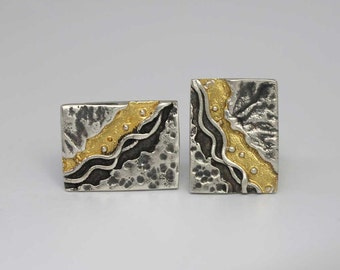 Silver & Gold Coastline Cufflinks - Made to Order
