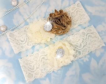 Gold and ivory Wedding Garter Set - Bridal Garter - Ivory Lace Garter - crystal garter set - gold Wedding Garter - gold and ivory - crystal