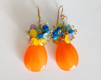 "Vibrant Tangerine Orange Jade Gemstone Cluster Earrings Tropical Earrings Candy Jade Earrings 2"" - blues"