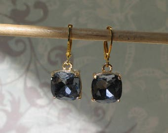 Grey Blue Faceted Glass Earrings