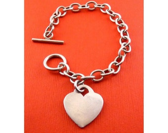 Hefty Sterling Silver Oval Links Bracelet with Heart Charm - Toggle Clasp, Engraveable