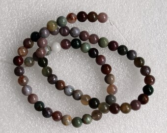Full Strand Indian Agate Round Smooth Beads 6mm
