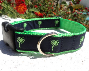 "Sale Dog Collar Palm Trees Lime 1"" wide Quick Release  adjustable - no martingale due to limited ribbon"
