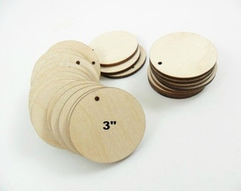 """Wood Circle Earring Blanks Pendant 3"""" (7.6cm) x 1/8"""" (.3cm) Thick Laser Cut Wood Shapes - 10 Pieces"""
