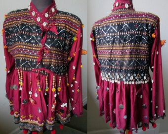 Vintage Bead, Sequin, Mirror Embellished Rajasthan Kutch Gipsy Dancer Jacket