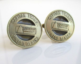 JUNEAU transit Token Cuff Links - Vintage Repurposed Gold Alaska Coins