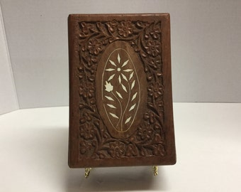 Vintage Hand Carved Box with Bone Inlay Made in India Hinged Box Wood Box